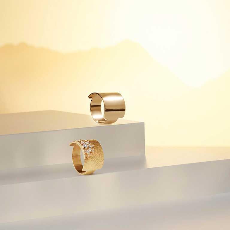PIAGET「Sunlight」系列,(上)18K玫瑰金寬戒╱58,000元;(下)18K玫瑰金宮廷式雕刻紋飾鑽石寬戒╱179,000元。(圖╱PIAGET提供)