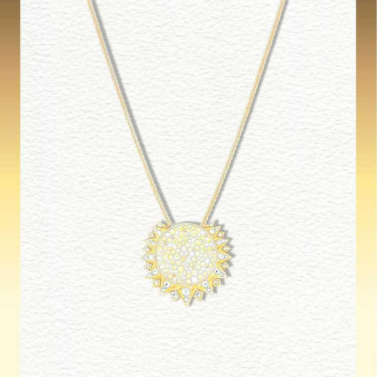 PIAGET「Sunlight」系列,18K黃金黃色藍寶石及鑽石墜鍊╱575,000元。(圖╱PIAGET提供)