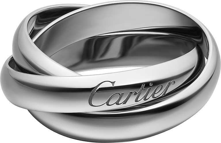 Cartier「Trinity」系列,白K金戒指,經典款╱45,800元。(圖╱Cartier提供)