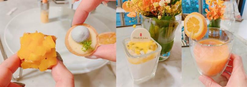 3項甜食由左至右依序為芒果千層塔、檸檬塔、百香水果奶酪以及綜合橘橙鮮榨果汁。