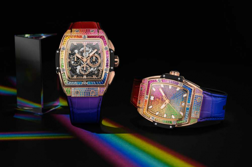 (左)HUBLOT「Spirit of Big Bang」彩虹寶石腕錶,42mm╱2,911,000元;(右)HUBLOT「Spirit of Big Bang」彩虹寶石腕錶,49mm╱2,878,000元(圖╱HUBLOT提供)