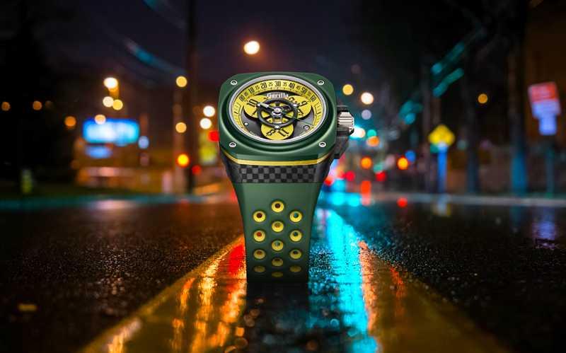 Gorilla「FASTBACK GT DRIFT ELISE漫遊小時腕錶」,鈦金屬、鍛造碳、陶瓷錶殼╱180,000元(圖╱Gorilla提供)