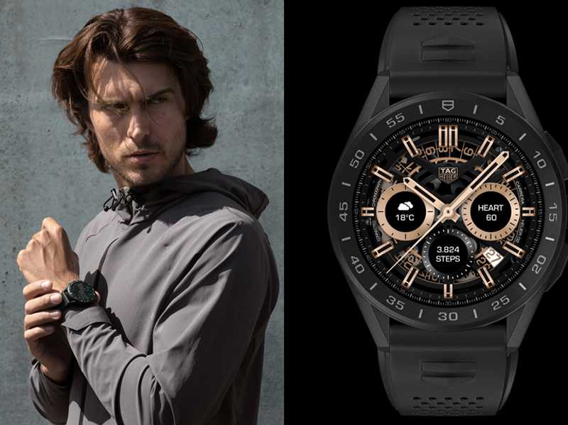 TAG HEUER「CONNECTED智能腕錶」,黑色PVD鈦金屬錶殼╱77,400元(圖╱TAG HEUER提供)