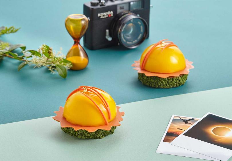 「日冕」以芒果慕斯巴斯克派襯著青芒果丁、無花果醬與紅心芭樂凍展現陽光生命力。(圖/誠品行旅提供)