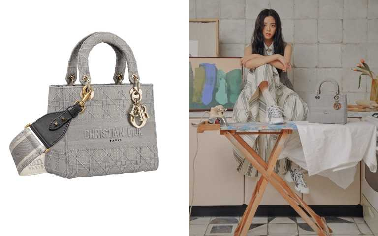 DIOR Lady D-Lite 石灰色籐格紋刺繡帆布中型提包140,000元(背帶另購)(圖/品牌提供)