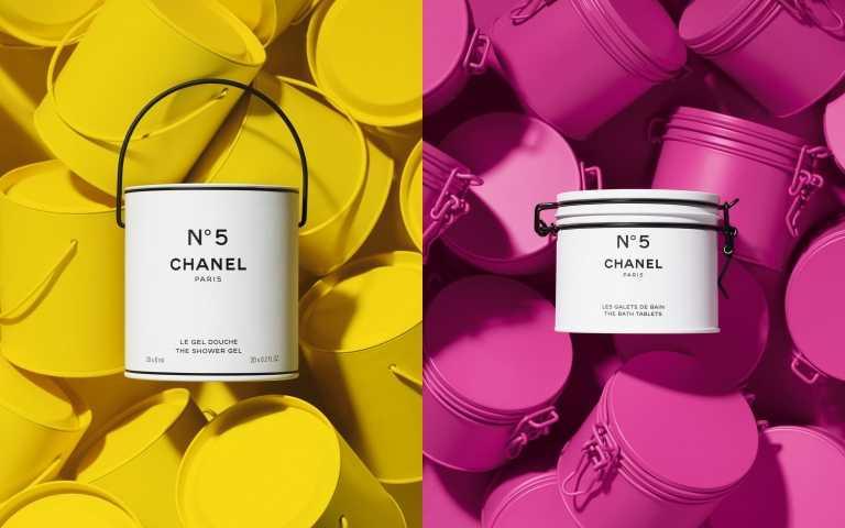 (左)CHANEL香奈兒號工場油漆筒沐浴乳(限量)20x6ml/2,460元;(右)香奈兒5號工場收納盒香氛沐浴球(限量) 10x17g/2,460元(圖/品牌提供)
