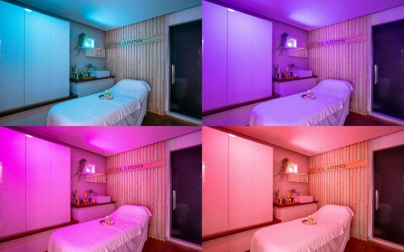 療程室就可以調成你想要的顏色燈光,讓顏色傳遞正向能量波長透過肌膚傳達至腦部,產生深層療癒效果。