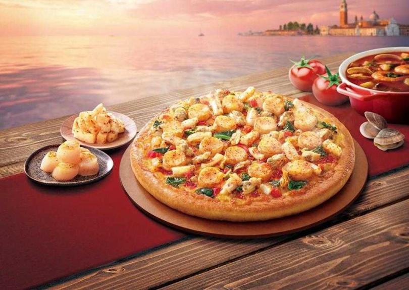 必勝客推出新品「義式漁夫海鮮比薩」和「愛你魷龍蝦干貝比薩」,老饕們吃起來!