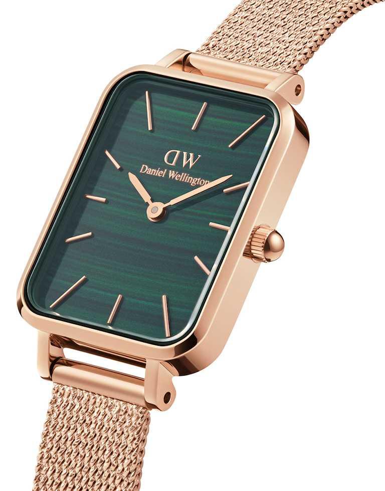 DW「Quadro」優雅新方錶,316 L不鏽鋼錶殼,伯朗大道綠錶盤,20mm,日本石英機芯,玫瑰金色麥穗式金屬編織錶帶╱5,990元。(圖╱Daniel Wellington提供)