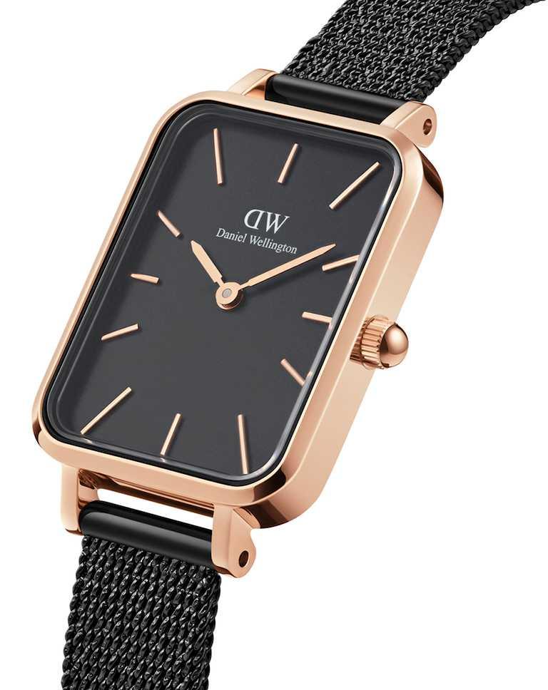 DW「Quadro」優雅新方錶,316 L不鏽鋼錶殼,時尚黑錶盤,20mm,日本石英機芯,黑色麥穗式金屬編織錶帶╱5,990元。(圖╱Daniel Wellington提供)