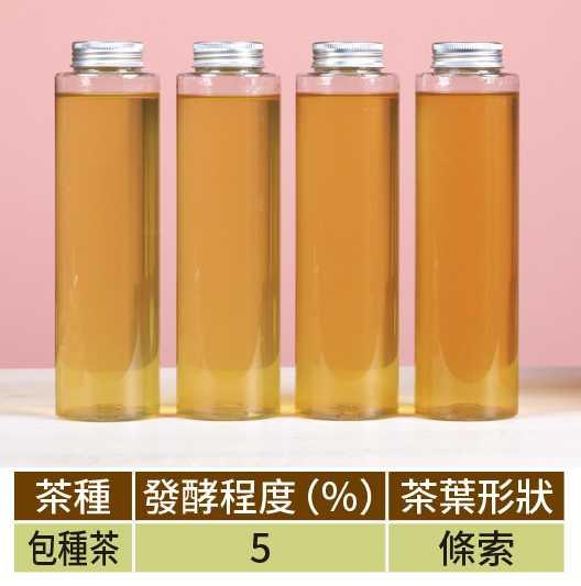 左起依序為包種茶冷泡3、4、5、6小時的茶色變化。(圖/馬景平攝)