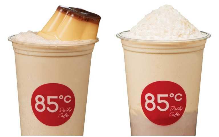 雙布丁冰沙(65元)與芋泥布丁冰沙。(65元)