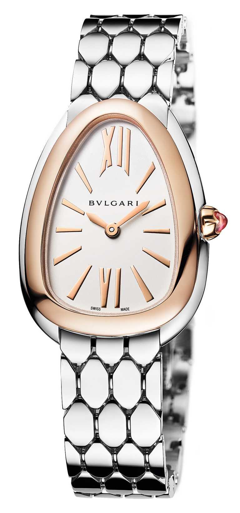 BVLGARI「Serpenti Seduttori」系列,玫瑰金與精鋼腕錶╱220,900元。(圖╱BVLGARI提供)