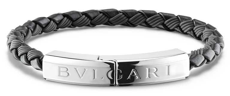 BVLGARI「BVLGARI Man」編織小牛皮銀手環╱20,200元。(圖╱BVLGARI提供)
