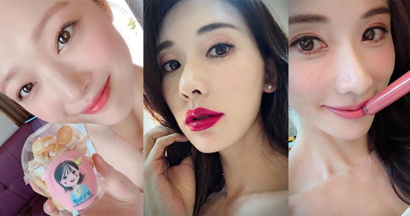 不同深淺的粉色唇彩,從優雅到性感全都駕馭的了。(圖/jelly_jilli IG、chiling.lin IG)