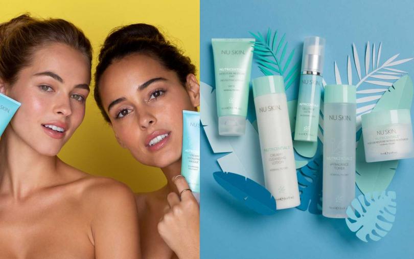 NU SKIN推出適合中乾性肌適用薈萃善秀保濕組合系列,替肌膚注入滿滿水分,煥發肌膚水潤透亮,瓶身皆是環保回收再生瓶。(圖/品牌提供)
