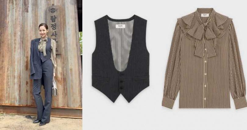 CELINE條紋真絲維多利亞式上衣/53000元;CELINE條紋羊毛開衫背心/31000元(圖/品牌提供、翻攝自IG)