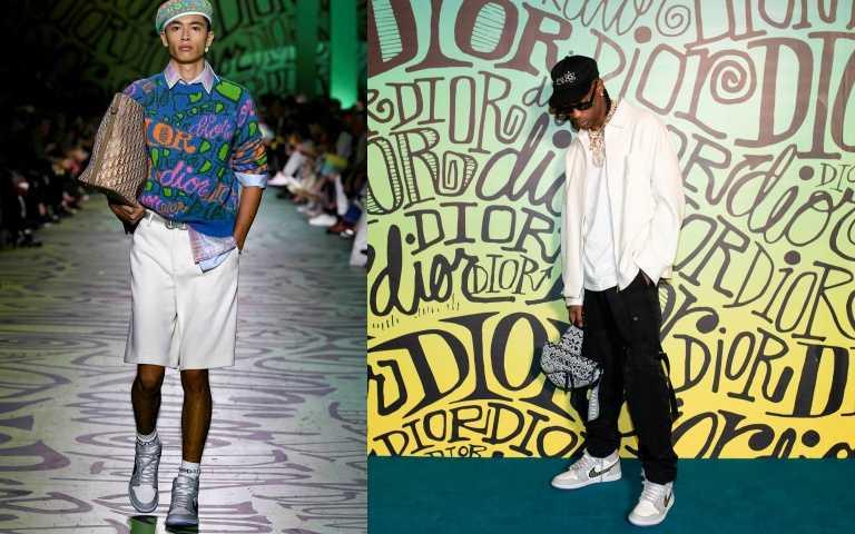 去年Dior男裝2020秋季系列大秀中,首次曝光Air Jordan 1 High OG Dior球鞋。(圖/品牌提供)