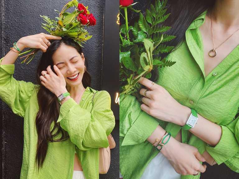 女星曾之喬佩戴Cartier「Trinity de Cartier系列」彩色絲繩手環,搭配同色系的Cartier「Tank Solo系列」腕錶,充滿夏季明亮感。(圖╱Cartier提供)