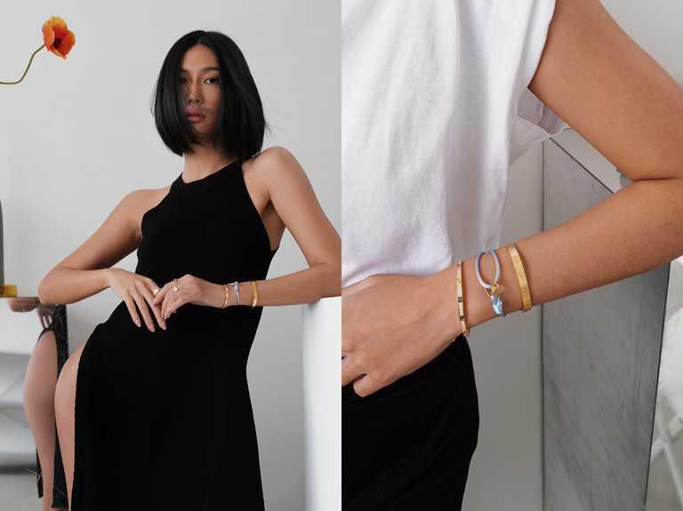時尚KOL莫莉Molly,佩戴Cartier「Trinity de Cartier系列」彩色絲繩手環,搭配經典系列戒指,展現穿搭魅力。(圖╱Cartier提供)