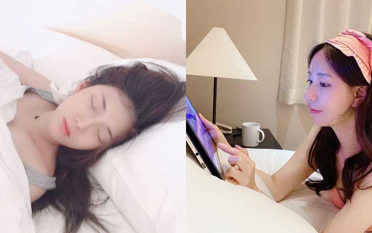 養成睡前儀式,避免在床上繼續使用3C產品。(圖/IG@gimria834、IG@likesosso)