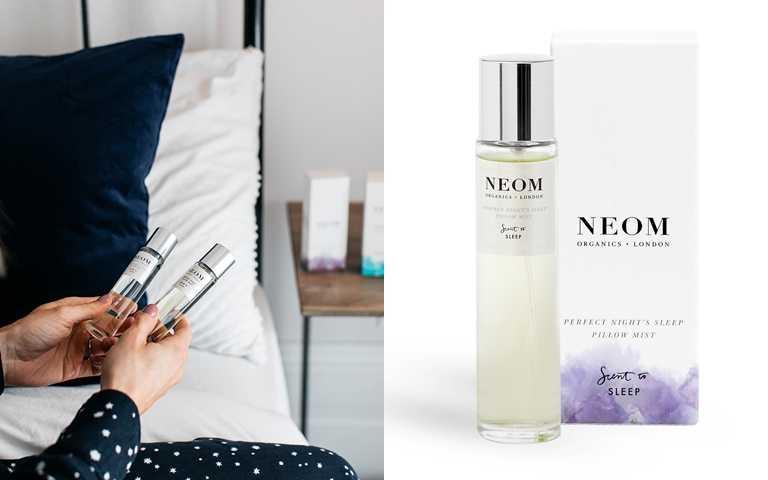 NEOM舒緩恬睡枕頭噴霧 30ml/1,100元  在多達19種天然精油中,特別提高洋甘菊及廣藿香的比例以提升睡眠品質。因為配方相當天然純淨,連嬰兒房也適用。(圖/品牌提供)