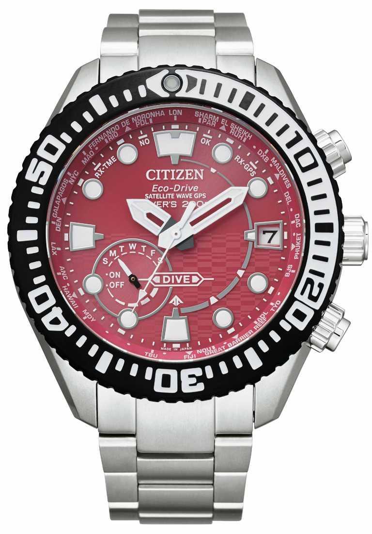 CITIZEN「CC5005-68Z」PROMASTER系列光動能全球電波對時腕錶「東京‧紅」限量版,鈦金屬錶殼,光動能,47mm╱56,800元。(圖╱CITIZEN提供)