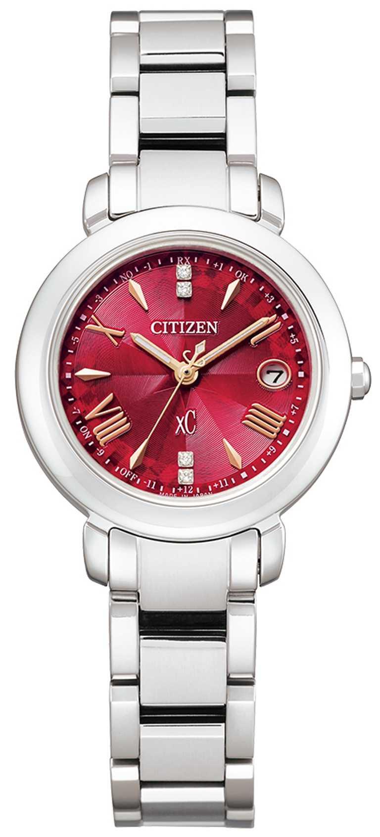 全新CITIZEN「ES9440-51X」xC系列光動能腕錶「東京‧紅」限量版,鈦金屬錶殼,光動能,27mm,鑽石4顆╱33,800元。(圖╱CITIZEN提供)