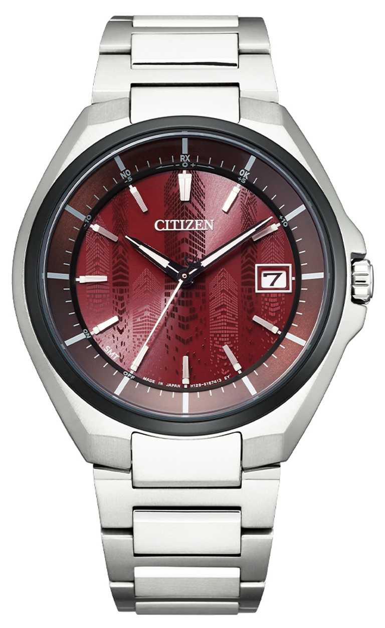 CITIZEN「CB3016-51Z」光動能全球電波對時腕錶「東京‧紅」限量版,鈦金屬錶殼,光動能,40mm╱30,800元。(圖╱CITIZEN提供)