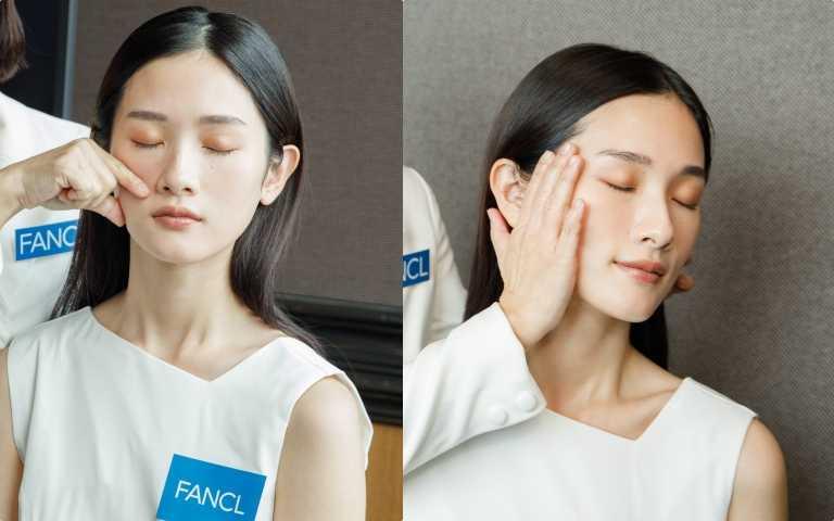4.捏:以大拇指食由夏巴中心點斜上夾捏雙頰。5.壓:雙手大面積按壓全臉進行安撫的動作。(圖/黃筱婷攝影)