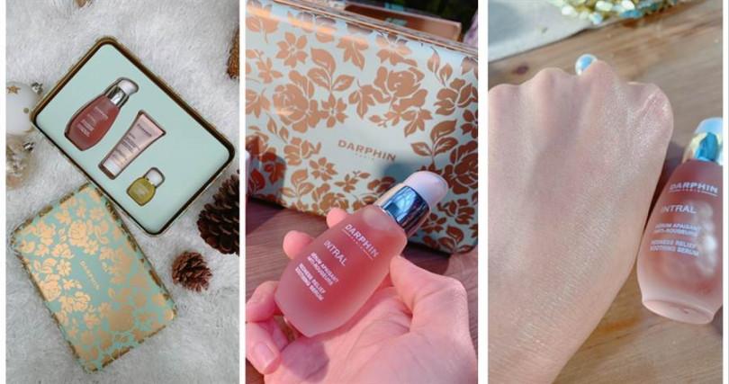 DARPHIN全效舒緩限量禮盒/2,500元  裏頭有DARPHIN的明星商品-療癒小粉紅搭配全效舒緩修護霜、甘菊芳香精露,主打可提升肌膚免疫力,解決現在很多人的肌膚動不動就泛紅敏感的不適現象。(圖/記者攝影)