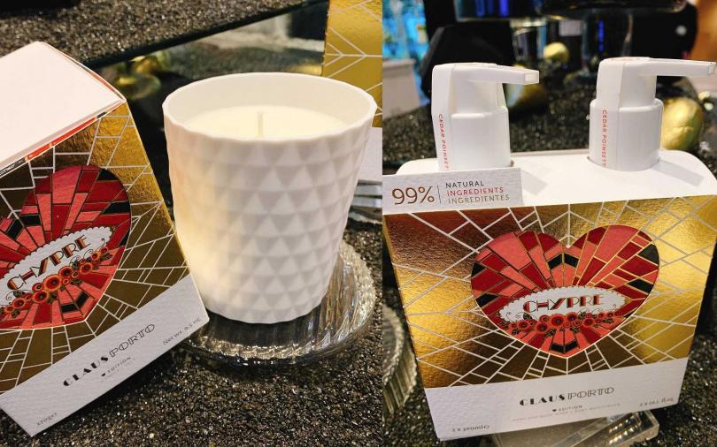 菱紋白瓷香氛蠟燭Heart Edition跟波爾多之夜身體護理二重奏Heart Edition也很受歡迎。(圖/吳雅鈴攝影)