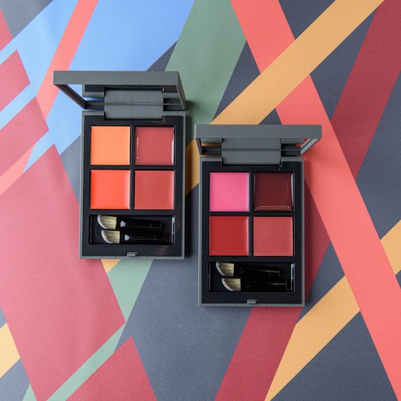 X01是暖色系的橘色調唇彩盤,X02是偏粉嫩色系!THREE流金盛夏唇采盒【限定】全2色/2,400元(圖/品牌提供)