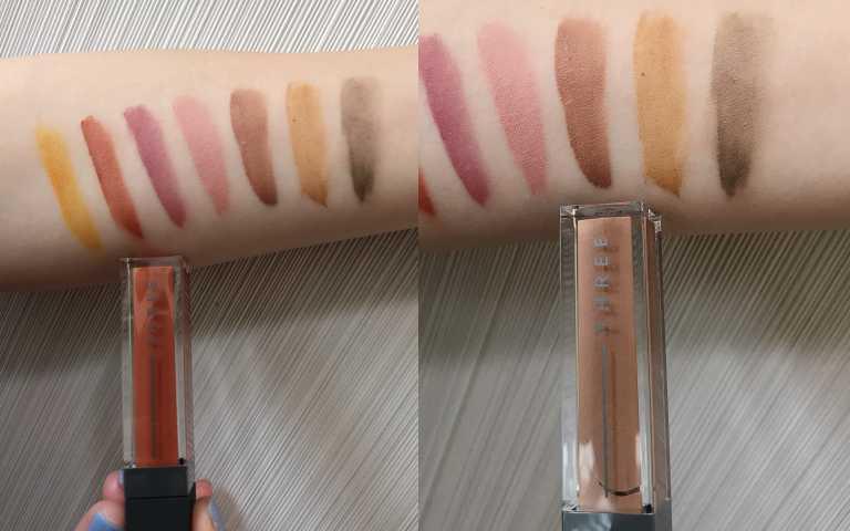 色號X02、(右)色號X05都是本季主打的暖色系,棕橘和棕咖啡!THREE星燦煥采眼影霜(圖/黃筱婷攝影)
