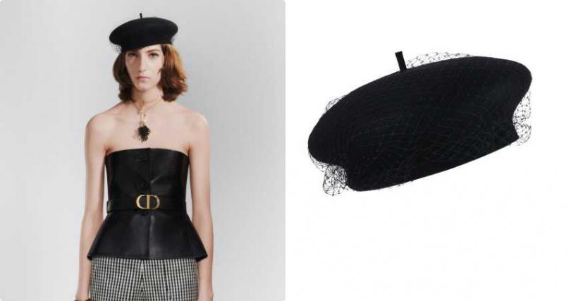 休閒的貝蕾帽加上網紗展現出華麗感。Dior Parisien 黑色網紗毛氈貝蕾帽/28,500元。(圖/品牌提供)