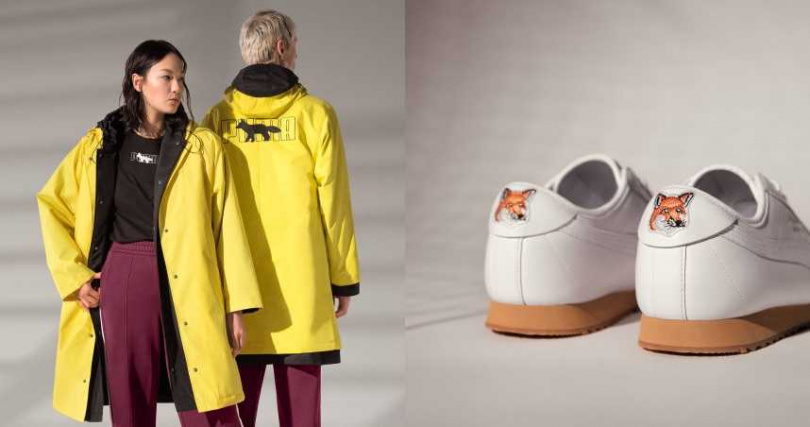 以鮮豔黃色軍裝工業風極簡連帽外套,搭配強調機能實著的 PUMA T7 聯名運動套裝,MAISON KITSUNÉ 招牌的狐狸圖案更在身上隨處現身。(圖/品牌提供)