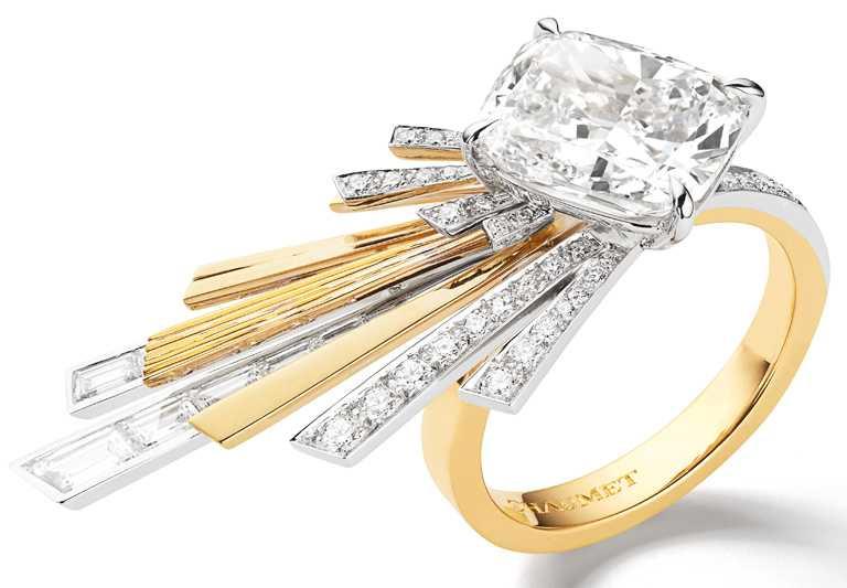CHAUMET「Nuages d'Or」系列,18K白金和18K黃金戒指。(圖╱CHAUMET提供)