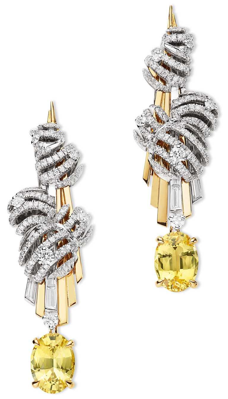 CHAUMET「Nuages d'Or」系列,18K白金和18K黃金耳環。(圖╱CHAUMET提供)