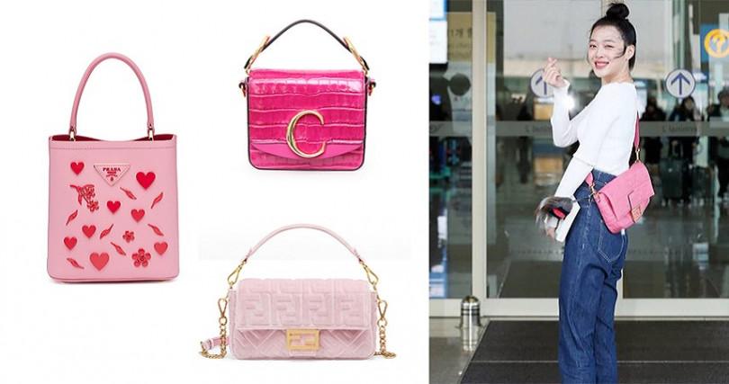 機場穿搭以白T配牛仔褲,點綴粉色小包更增加可愛感(圖/jelly_jilli IG、品牌提供)