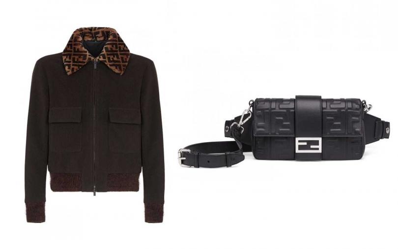 FENDI 黑色FF LOGO 毛領外套/價格店洽、FF LOGO 黑色Baguette包/100,000元(圖/品牌提供)