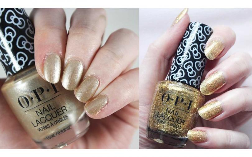 OPI的金色指甲油就有單色款、亮片款的多樣選擇性。(圖/品牌提供)