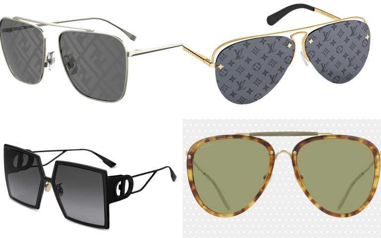 推薦太陽眼鏡:(左上)FENDI FF FENDI Caravan Squared 太陽眼鏡/價格店洽(左下)Dior 30 Montaigne Ultra Black 極致霧黑寬版方框墨鏡/17,200元(右上)LOUIS VUITTON GREASE太陽眼鏡24,900元(右下)GUCCI 飛行員琥珀框太陽眼鏡/15,200元。(圖/品牌提供)