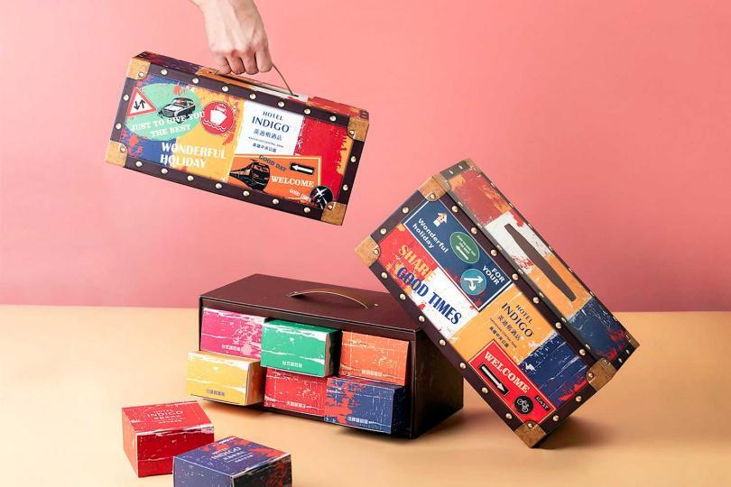 月餅吃完後,「月之紛彩—中秋小提箱」還能變成辦公桌上實用又新潮的面紙盒。(圖/高雄英迪格酒店)
