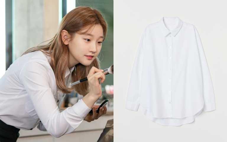 H&M 秋裝白色襯衫/699元(圖/IG、品牌提供)