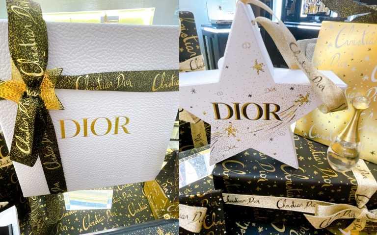 限定櫃點消費滿額5,000元(需含任一香氛與彩妝商品),可享DIOR聖誕禮盒包裝服務(左圖),以鑲嵌著金色Dior Logo雪白禮盒,再以燙飾著Christian Dior字樣的緞帶搭配幸運星吊飾。此外,購買香氛系列商品滿5,000元,可獲「DIOR香氛銀河星願吊飾」(右圖)乙個(內含迪奧香水精巧版5ml),數量有限送完為止。(圖/黃筱婷攝影)