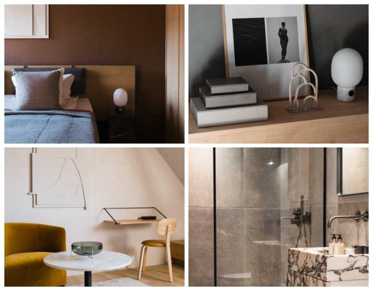 每一間房型都以不同色系裝潢,此圖展示標準房設備。