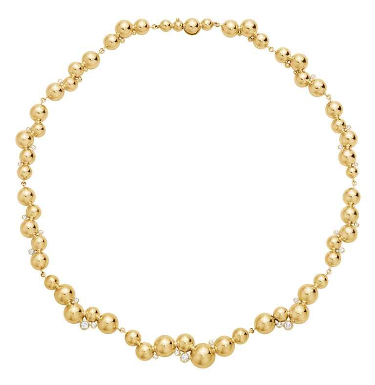 GEORG JENSEN「Moonlight Grapes月光葡萄」系列,18K黃金鑽石頸鍊╱420,000元。(圖╱GEORG JENSEN提供)