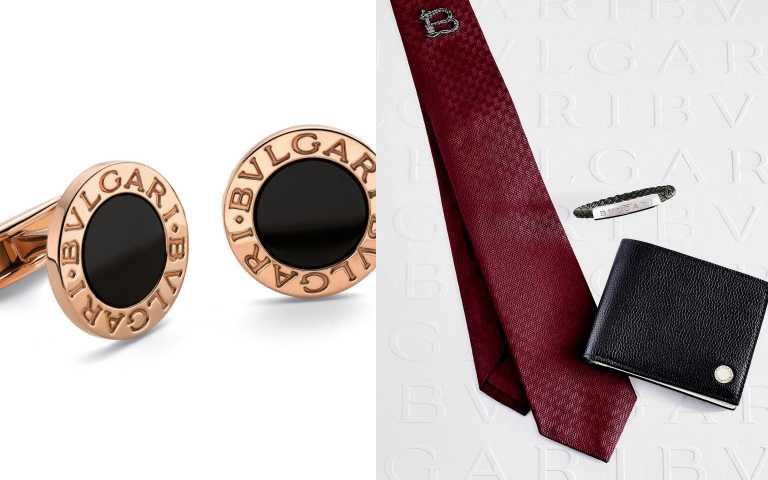 (右)BVLGARI BVLGARI BVLGARI黑色小牛皮中性短夾/17,600元(Size:12 x 9.5 x 2cm); BVLGARI MAN 編織小牛皮銀手環/ 20,200元;(左)BVLGARI BVLGARI 系列玫瑰金縞瑪瑙袖扣/88,700元(圖/品牌提供)
