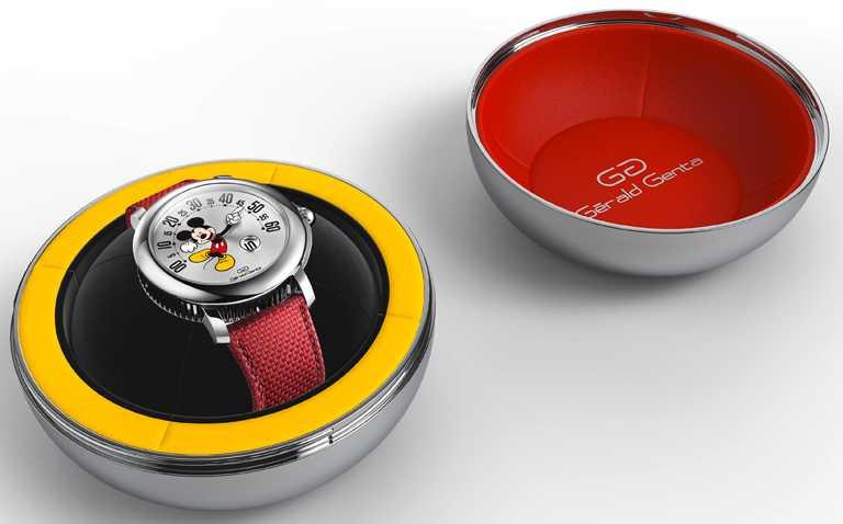 BVLGARI「Gérald Genta Arena Retrograde Mickey Mouse」微笑米老鼠腕錶,41mm,精鋼錶殼,單逆跳自動機芯,限量150只╱價格未定。(圖╱BVLGARI提供)