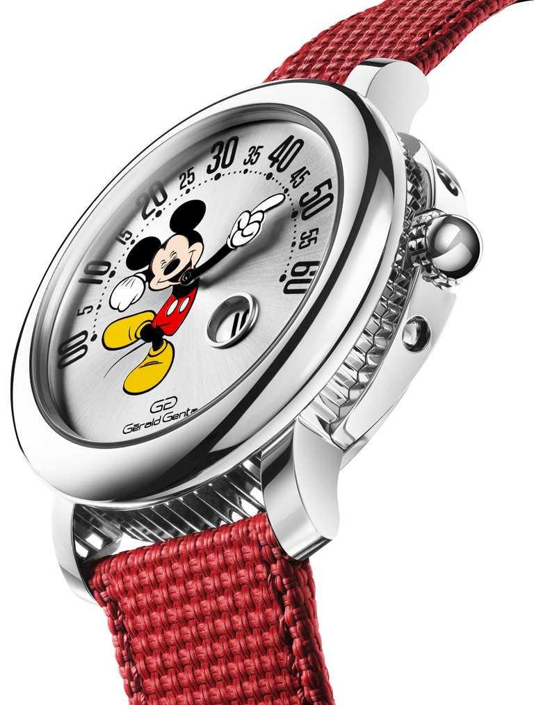 BVLGARI「Gérald Genta Arena Retrograde Mickey Mouse」微笑米老鼠腕錶,紅色織紋橡膠錶帶;Gérald Genta拋光精鋼折疊式錶釦╱價格未定。(圖╱BVLGARI提供)